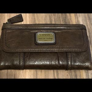 Fossil Long Live Vintage Brown Leather Wallet